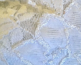 Floral White Stretch Embroidered Lace Fabric by the yard