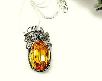 Swarovski Fancy Stone Necklace - Goldenrod