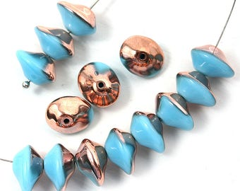 Turquoise Blue Saucer beads, Bright Copper luster, UFO shape, Czech glass pressed chunky bicone beads, 7x11mm - 10Pc - 1182
