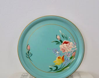 Vintage Turquoise Floral Metal Round Party Serving Tray
