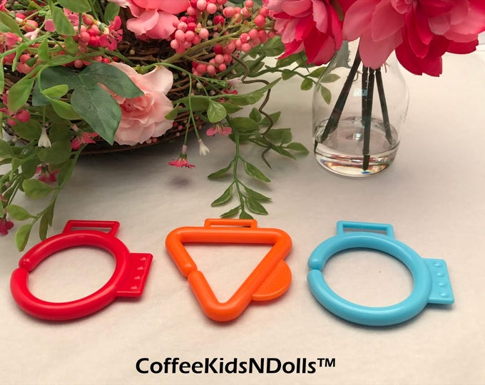 CLOSEOUT // Shaped Baby Clip // 2.75 inch // Baby Teether // Baby Chew // Teething Toy // Toy Making Parts // Handmade // Toy Hanger