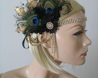 "Black Gold Goose Peacock Feather + Lace Crystal Flapper Headband - ""Jem"" Gatsby Party Art Deco Fascinator 1920s Haloween Wedding Headpiece"