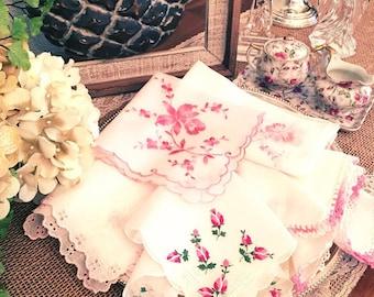 Vintage Ladies Handkerchief, Wedding Hankie, Pink, Floral,Crocheted,  Bride, Bridesmaid Hanky, Cranberry, Pink, ( 5 )  Assorted Sizes