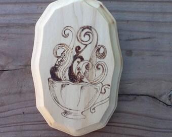 Wood Burned Tea Cup