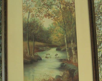 Original Framed Pastel Landscape Painting 1928 Edith May Parks?