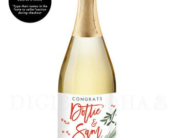 Engagement Gift Newlyweds CHAMPAGNE LABELS Winter Engagement Gift for Couples Engagement Party Champagne Holiday Champagne Label - Dorothy