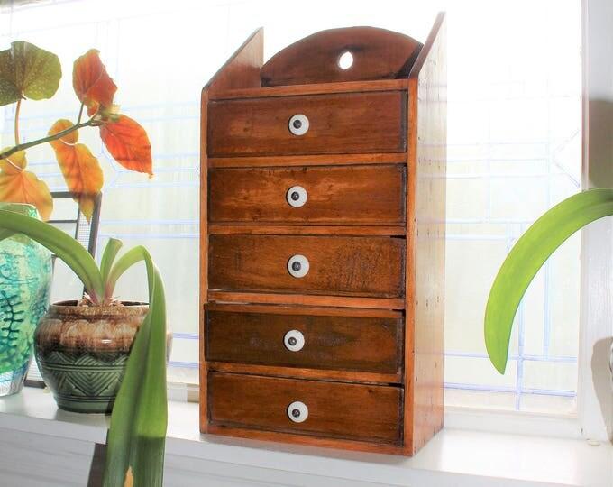 Primitive 5 Drawer Cabinet Antique Handmade Wood Folk Art 1910s