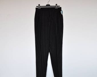 NOS Vintage Charcoal Striped High Waist Pleated Preppy Dress Pants Cuffed Boyfriend Trousers