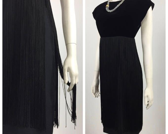 Vintage 1960's Black Velvet and Crépe Wiggle Dress with Fringe Skirt - Empire Waistline - Diamond Open Back - Little Black Dress - SZ 4 to 6