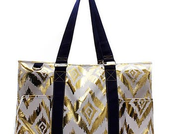 Utility Tote, Gold Metallic Market Tote,  Monogrammed Market Tote,  Metallic Monogram Tote Bag, Black and Gold Bag, Blingy Tote