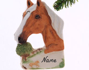 Palomino Horse Resin Christmas Ornament Hand Made in the USA Personalized With Your Choice of Name and or Year Gift Box Included (477)