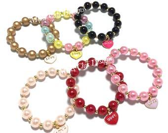 Toddler or Girls Small Beaded Love Charm Bracelet - Girls Valentines Day Heart Charm Bracelet - Red, Pink, Purple, Black and Gold Bracelet