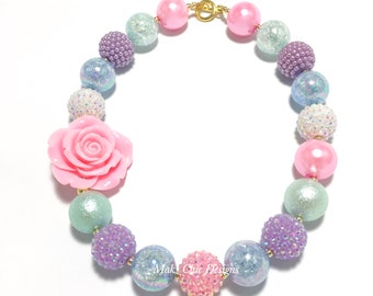 Toddler or Girls Chunky Rose Necklace - Pink, Blue, Purple, Mint and White Chunky Necklace - Pastel Chunky Necklace - Pink Flower Necklace