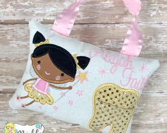 Tooth Fairy Pillow, Girls Tooth Fairy Pillow, Tooth Pillow, Girl Tooth Fairy Pillow, Birthday Gift, Personalized Tooth Pillow, Tooth Fairy