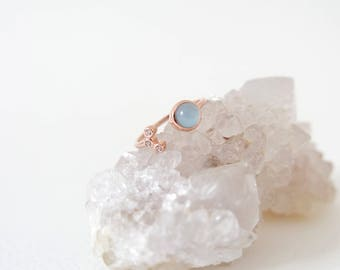 Alix - Blue Chalcedony Stacking Ring in Rose Gold, Adjustable Ring, Gifts for her