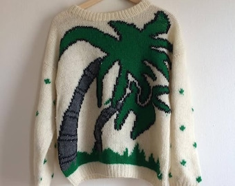 Huamei Palm Tree Vintage Knit Crewneck Sweater