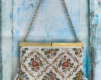 50s White Bead Tapestry Purse Handbag Hong Kong