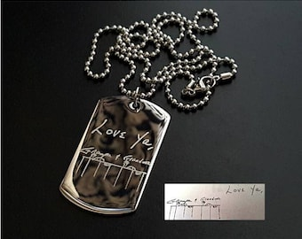 Art Drawing Necklace, Handwriting Necklace, Dogtag Fingerprint Necklace, Stainless Dogtag Necklace, Stainless Keychain, Fingerprint Keychain