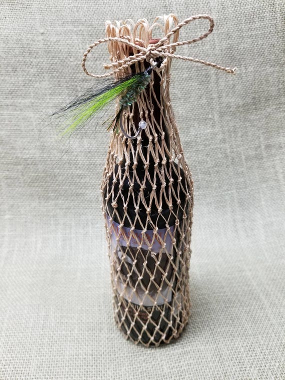 Fishing Net Gift Beer/Wine Bag - Green and Black Fishing Fly