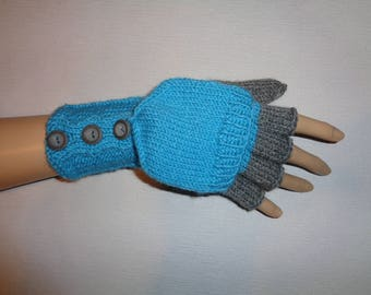 Convertible gloves - Convertible mittens - Hand warmers - Hand-knitted - Turqoise color /christmas gift/women gift