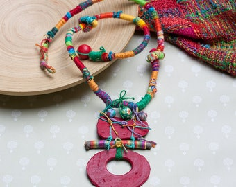 Colorful boho necklace, rustic tribal jewelry, mixed media statement necklace with clay beads and twig, OOAK