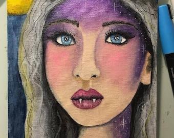 ORIGINAL SMALL Halloween Werewolf Girl Painting // 5x7 inch acrylic on canvas //weregirl, moon, portrait, october, fangs, furry