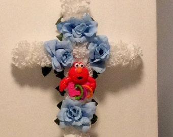 Cemetery Flowers, Gravesite Floral Cross, Boy's Grave, Silk Flowers, Boys Funeral, Elmo Theme