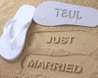 Just Married Flip Flops - Custom Sand Imprint Sandals for Beach Weddings, Bride & Groom *check size chart before ordering*