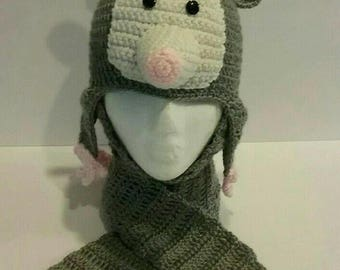 Opossum / Possum Crochet Hat Pattern in Sizes Toddler to XL Adult