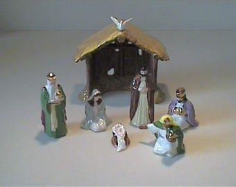 Vintage 1991 miniature Hagen Renaker Christmas nativity scene set - 7 pieces