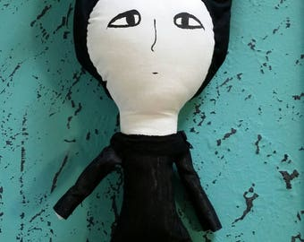 Edward Gorey PBS Mystery Doll Gothic Woman with a bat-like hat