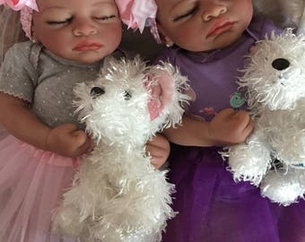 Twins! Completed Bi Racial Baby Girls Carla and Camille  Completed Reborn Baby Dolls from the Aisha 20 inch kit