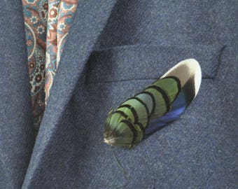 Feather Lapel Pin in Navy and Green | Feather Boutonniere | Feather Brooch | Feather Hat Pin | Grooms Outfit | Wedding