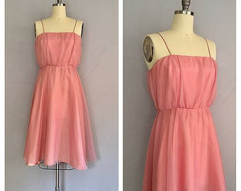 Rosa dress | vintage 1970s pink dress | 70s feminine party dress | s