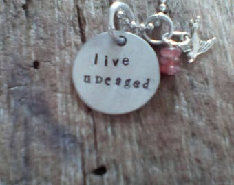 live unchanged hand stamped necklace