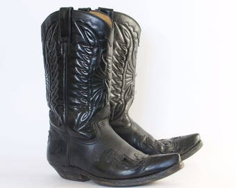 Vintage Black Real Leather Cowboy Boots Festival Men's UK 9 EU 43 US 10