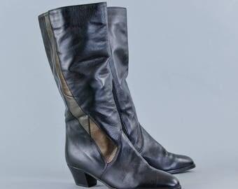 Vintage Women's Ara Black Leather Long Heeled Calf Boots UK 3.5 EU 36 US 5.5