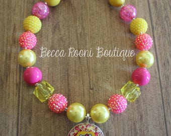 Hello Kitty Pink and Yellow Bubblegum Necklace, Bubblegum Necklace, children's chunky necklace, children's bubblegum necklace, Hello Kitty