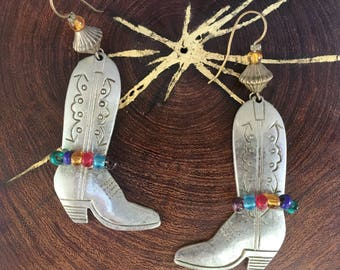 90's Boot Earrings Silver Western Cowgirl Dangle Earrings Southwestern Jewelry 90s Rainbow Dangle Earrings Cowboy Boot Texas Jewelry