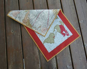Table Runner, Table topper, quilted table runner, wall hanging, maps, geogpraphy, world map, earth, atlas  reversible