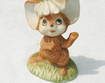 Vintage Mouse with Flower on Head Figurine