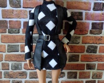 Leather Cardigan w/ Belt and Bold Print Knit Turtleneck Tunic for Barbie or similar fashion doll