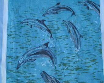 Tea Towel Vintage of Dolphins Australia, Australian.
