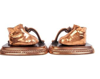 Vintage Copper Baby Shoe Bookends Bronze Baby Booties Sculpture Baby Nursery Decor Mid Century