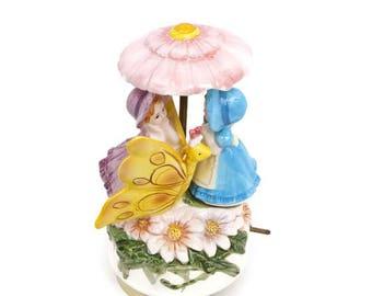 Vintage Schmid Music Box 1985 La Vie en Rose Girls Under Parasol Wind Up Turning Musical Collectable Japan Figurine Rotating Umbrella