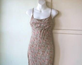 Slinky Vintage Greyish Seafoam Green Dress with Small Floral Print; Women's Small~'90s Does '30s Below-Knee Dress; Free Ship/U.S.