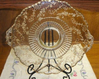Elegant Vintage Gold Gild Floral Flowers Vine Clear Glass Scallop Edge Tab Handle CAKE/ Serving Platter PLATE