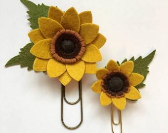 Sunflower Felt Flower Planner Set/ Felt Sunflower Bookmark/ Felt Flower Planner Clips/ Book Accessory
