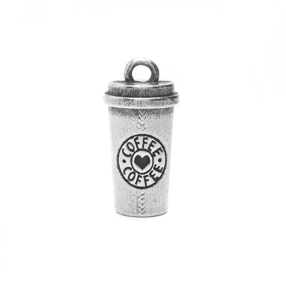 Travel Coffee Cup Charm - Add a Charm to a Custom Charm Bracelets, Necklaces or Key Chains - Read Description for More Info - Nickel Free