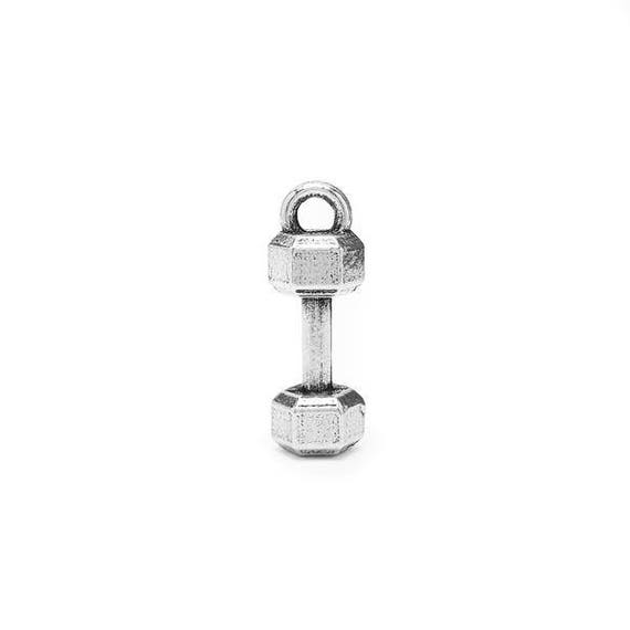 Mini Dumbbell Charm - Add a Charm to a Custom Charm Bracelets, Necklaces or Key Chains -  Nickel Free Charms - Small Barbell - Gym Charms